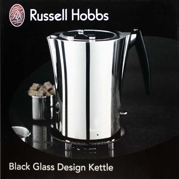 russell hobbs black glass edelstahl wasserkocher neu ebay. Black Bedroom Furniture Sets. Home Design Ideas