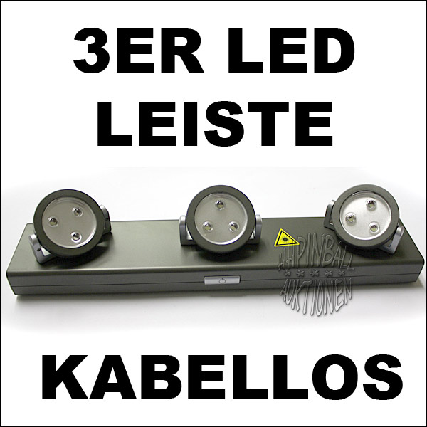 3er led lichterleiste kabellos spots schwenkbar leuchte ebay. Black Bedroom Furniture Sets. Home Design Ideas