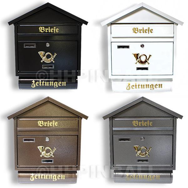 metall briefkasten gelb postkasten mit zeitungsfach zeitungsrolle briefe post ebay. Black Bedroom Furniture Sets. Home Design Ideas