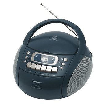 MEDION Stereo Radio Kassette MP3 CD Player Boombox Blau 2x12W Bass on jrac