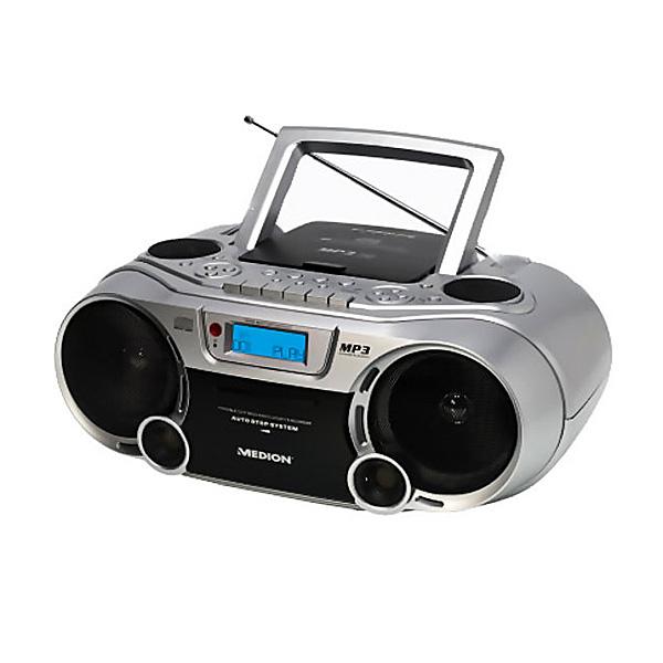 medion design mp3 cd stereo radiorecorder cd player cd mp3 player silber md82853. Black Bedroom Furniture Sets. Home Design Ideas