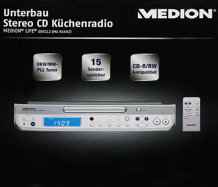 medion life unterbau design stereo k chenradio radio cd. Black Bedroom Furniture Sets. Home Design Ideas